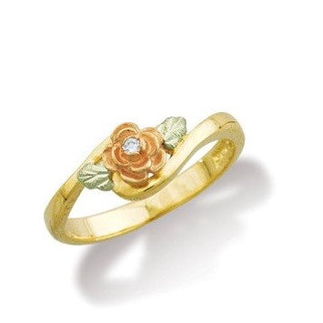 Sizes 4 - 13 Landstrom's Black Hills Gold Cutest Rose Diamond Ring - 10K and 12K solid gold - Made To Order - G L02247X