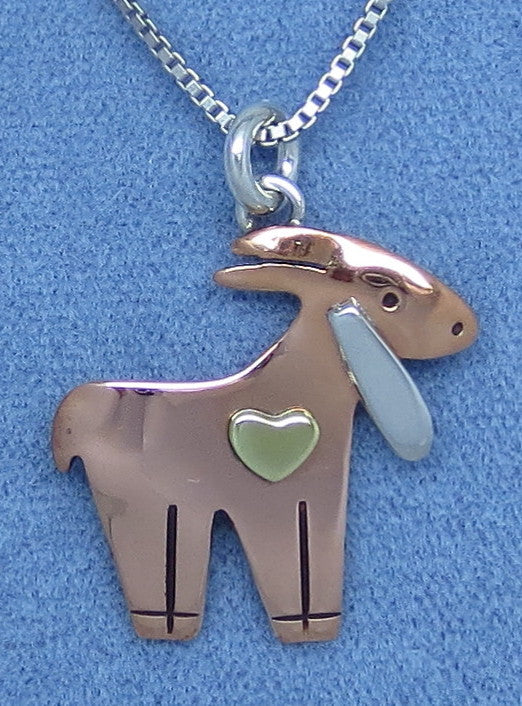 Small Copper, Brass and Sterling Silver Goat Necklace - Heart - Dainty - Hand Made - Tri Color -- G140752