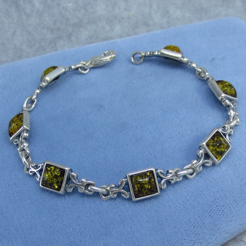 "7"" Green Baltic Amber Bracelet - Sterling Silver - Filigree - Square - Vintage - Victorian Filigree - 961721"