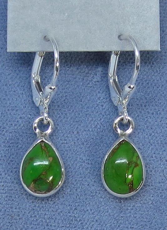 Petite Mojave Green Copper Turquoise Earrings - Leverback - Sterling Silver - Pear Shape - 171336