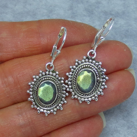 Faceted Natural Green Labradorite Leverback Earrings - Sterling Silver - Victorian Vintage Sun Tribal Boho Design - SU171285