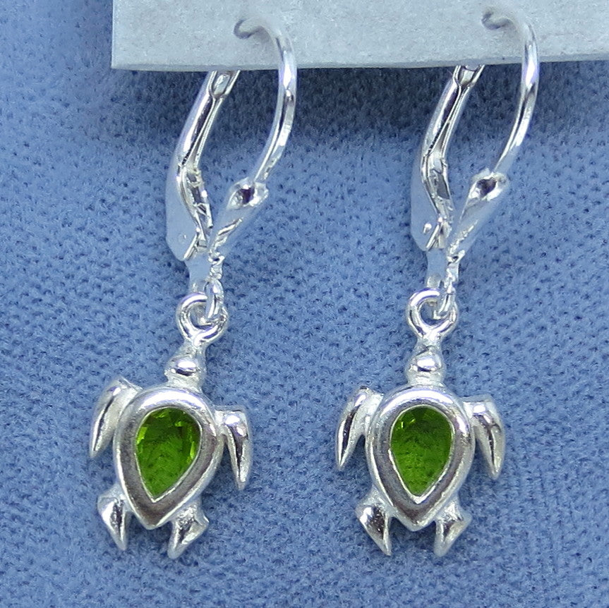 Tiny Sea Turtle Leverback Earrings - Sterling Silver - Green Cubic Zirconia - Hand Made -- 010880