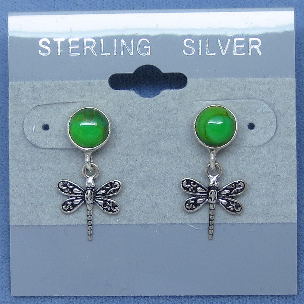 Genuine Mojave Green Turquoise Dragonfly Earrings - Posts - Studs - Dangles - Handmade -- D171223