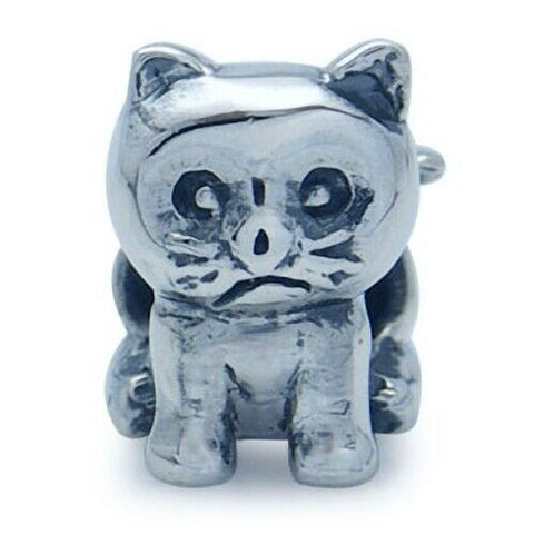 Grumpy Kitty Kitten Cat 925 Sterling Silver European Charm Bead Pendant Fits Pandora Bracelets - Euro Charm - Not Threaded - Hypoallergenic