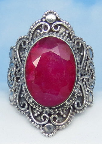 5.6ct Size 6 Natural Ruby Ring - Solid .925 Sterling Silver - India Raw Genuine Ruby - Victorian Filigree Bali Design - Large Oval - 0029-18