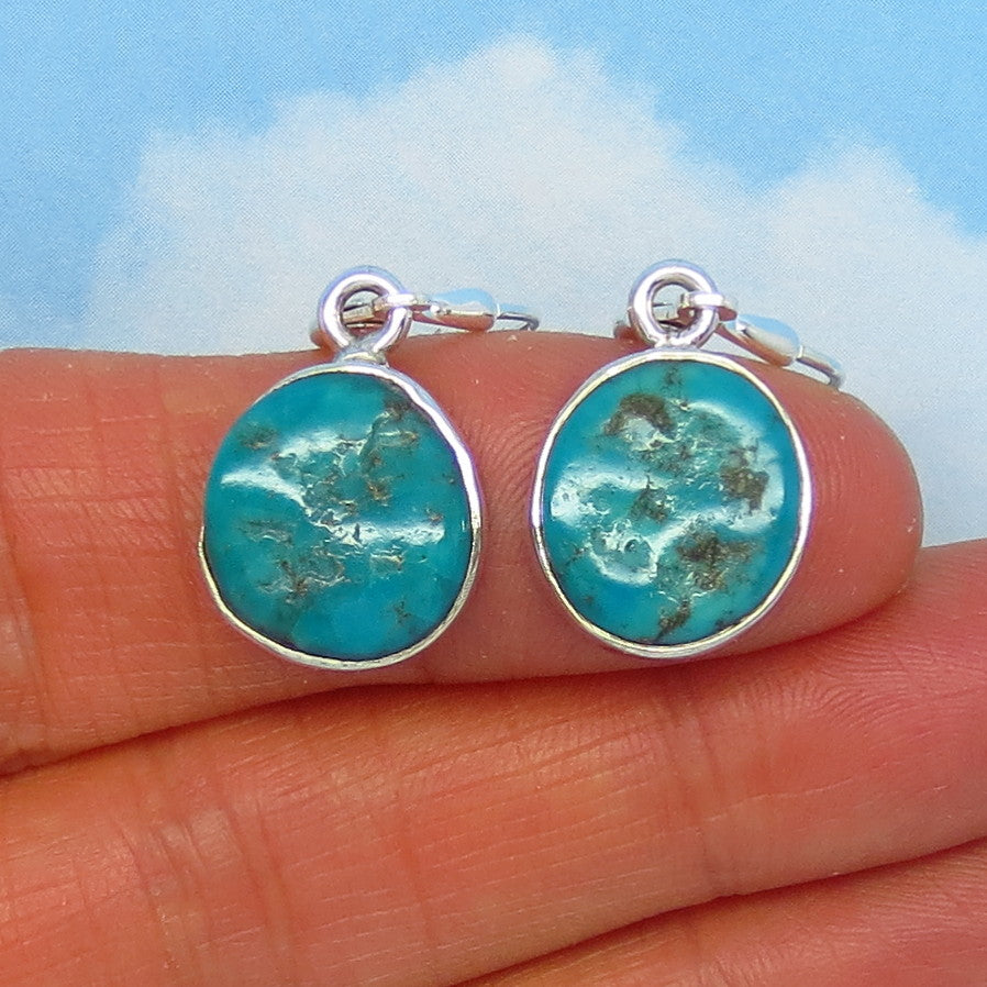 Natural Arizona Turquoise Nugget Leverback Earrings - 14 x 12mm - 4.6g - Sterling Silver - Simple - Genuine Raw Rough Nugget - 151316G