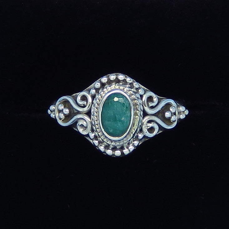 .50ct Size 7 1/4 Genuine Emerald Ring - Sterling Silver - Victorian Filigree - Bali Design - Raw Emerald - p171259