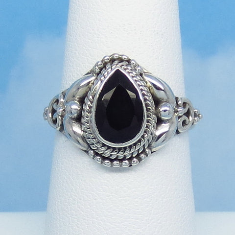 Size 6-3/4 Natural Genuine Black Onyx Ring - Sterling Silver - 9 x 6mm Faceted Pear - Vintage Victorian Antique Filigree Design - SA171316
