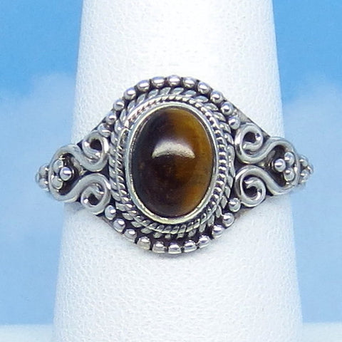 Size 7-1/2 Natural Tiger Eye Ring - Sterling Silver - 8 x 6mm Oval - Boho Bali Vintage Filigree Design - 07-1306
