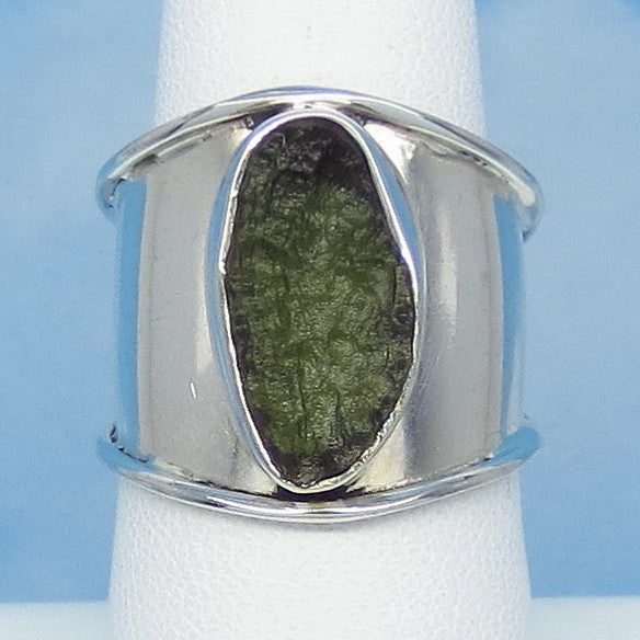 "Size 7 Czech Moldavite Ring - Sterling Silver - 3/4"" Wide - Cigar Band - Tektite - Meteorite - Natural Genuine"