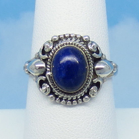 Size 8 Natural Lapis Lazuli Ring - Sterling Silver - Oval - Filigree Victorian Style Boho Bali - Genuine Lapis - jy170925