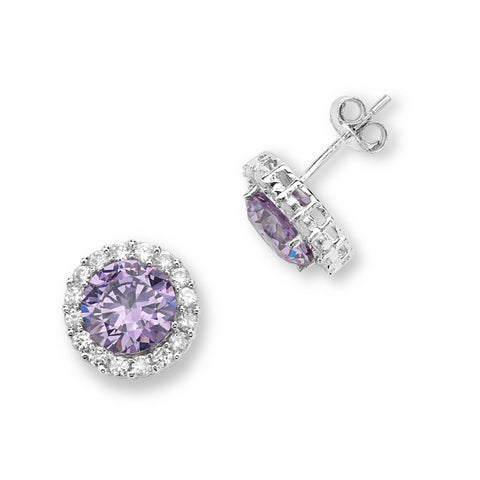 Silver Elegance Purple CZ Halo Earrings - Sterling Silver - Made to Order - SESE925TNZCZ