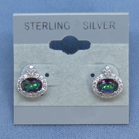 Mystic Topaz - Rainbow Topaz Halo Stud Earrings - Sterling Silver -- 181005