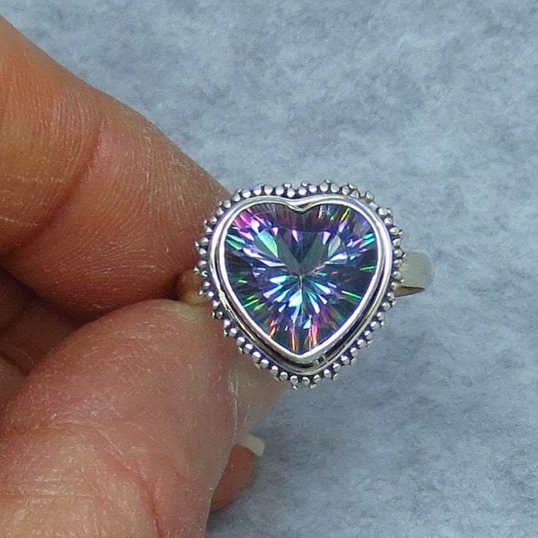 Size 8.25 Mystic Topaz Heart Ring - Sterling Silver - Rainbow Topaz - 261043
