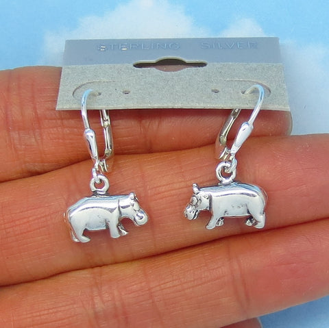 Sterling Silver Hippopotamus Earrings - Leverback Ear Wires - Dangle - 3-D - Two Sided - Wild Animals - Africa - Hippo - su170993