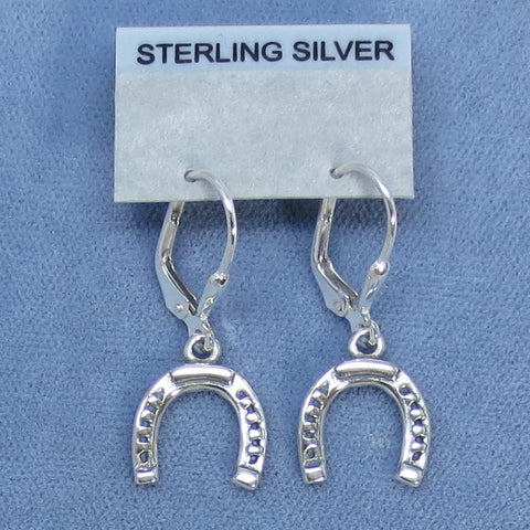 Horseshoe Leverback Earrings - Sterling Silver -- 200653
