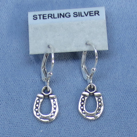 Tiny Sterling Silver Horseshoe Earrings - Leverback - Small - Good Luck -- 170446