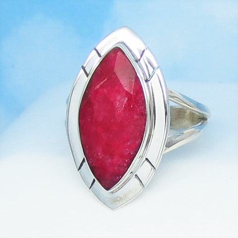 6.3ct Size 9 Natural Ruby Ring Solid 925 Sterling Silver Genuine India Raw Ruby - Marquise - Large - Contemporary - Geometric - rr0012-14