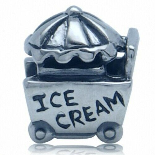 Ice Cream Cart with Umbrella 925 Sterling Silver European Charm Bead - Fits Pandora Bracelets - Euro Charm - Not Threaded - Hypoallergenic