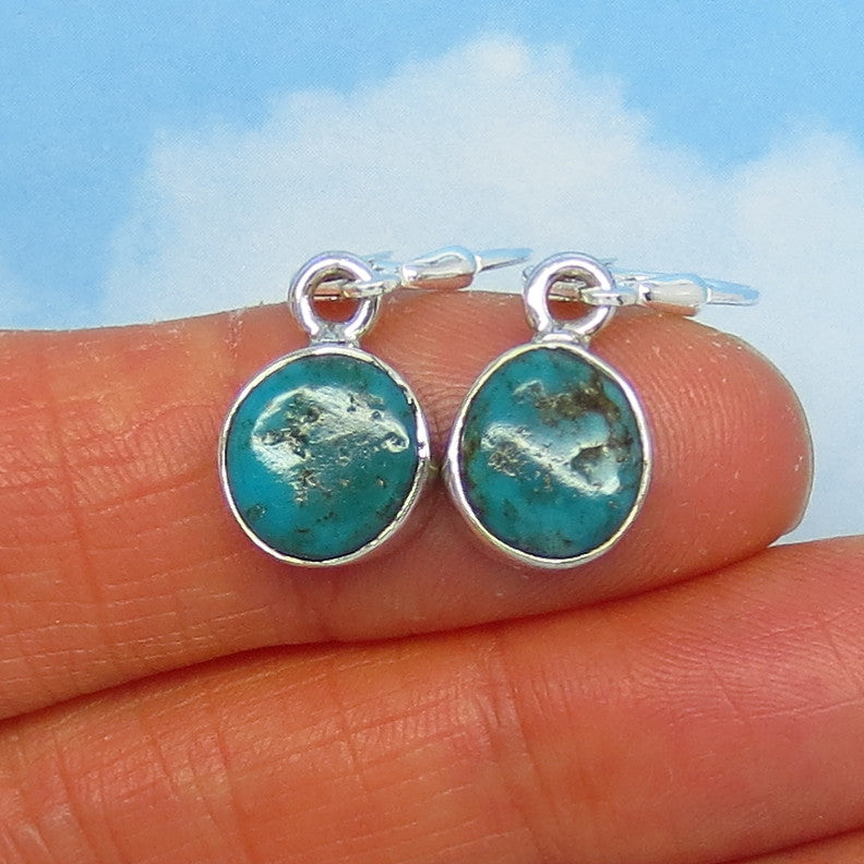 Small Natural Arizona Turquoise Nugget Leverback Earrings Sterling Silver - Dainty Simple - Genuine Raw Rough Nugget - Minimalist - 151316J