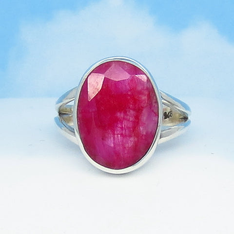 6.14ct Size 9 Natural Ruby Ring - Sterling Silver - India Raw Genuine Ruby - Simple - Oval - Large - Contemporary - rr0015-12