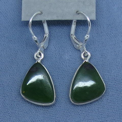 Genuine Nephrite Jade Earrings - Leverback - Sterling Silver - Triangle Pear Shape - Simple - Green - 181983
