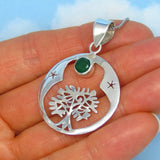0.80ct Natural Emerald Tree of Life Pendant Necklace - Sterling Silver - Genuine Emerald - Celtic - 6mm Round - sa161103