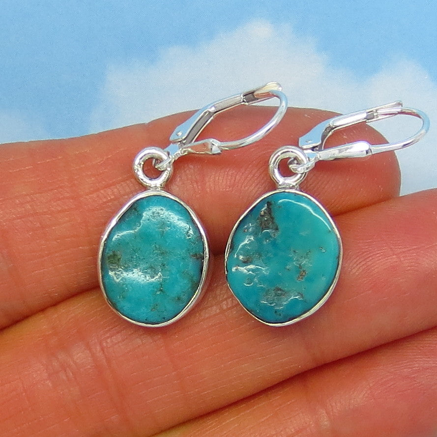 Natural Arizona Turquoise Nugget Leverback Earrings - 14 x 12mm - 4.0g - Sterling Silver - Simple - Genuine Raw Rough Nugget - 151316K