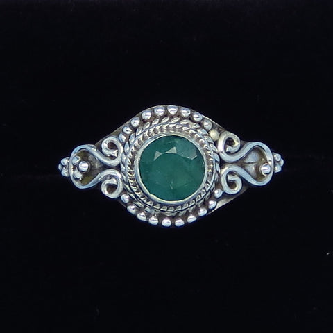 .80ct Size 8 1/4 Genuine Emerald Ring - Sterling Silver - Victorian Filigree - Bali Design - Raw Emerald - p171260
