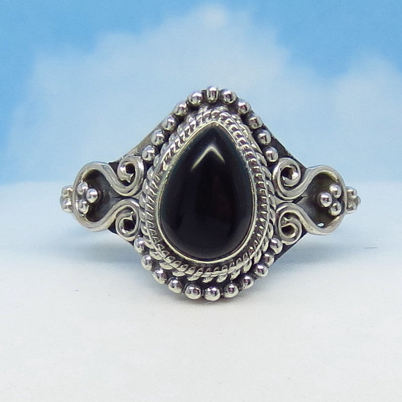 Size 8-1/4 Natural Genuine Black Onyx Ring - Sterling Silver - 9 x 6mm Pear - Vintage Victorian Antique Filigree Design - SA171508