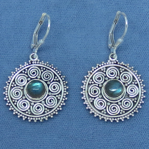 Labradorite Earrings - Sterling Silver - Leverback - Gypsy Design - 161406