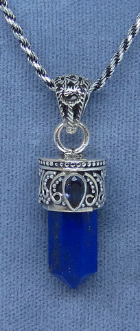Genuine Lapis Lazuli Point Pendant Necklace - Sterling Silver - Iolite Accent - Filigree Design - Rope Chain - Handmade - JY171508