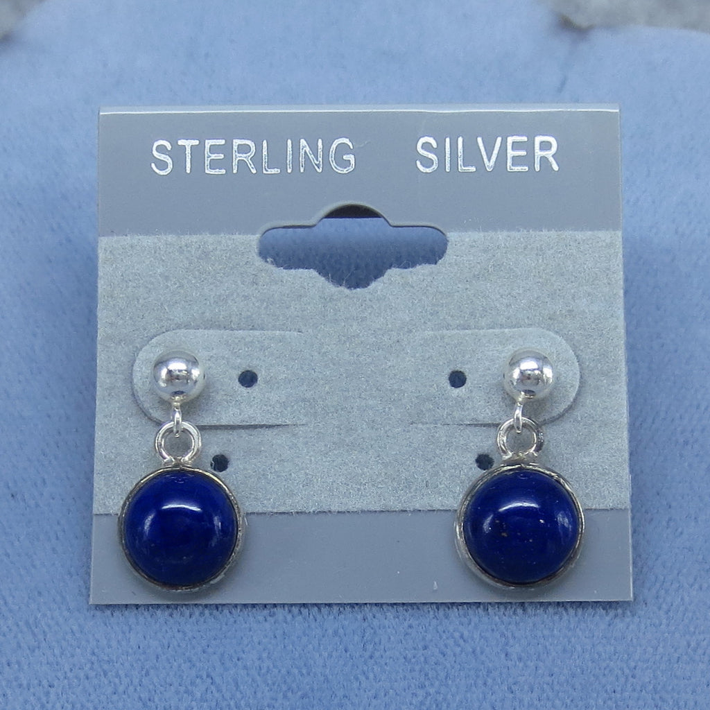 8mm Natural Lapis Lazuli Post Dangle Earrings Sterling Silver