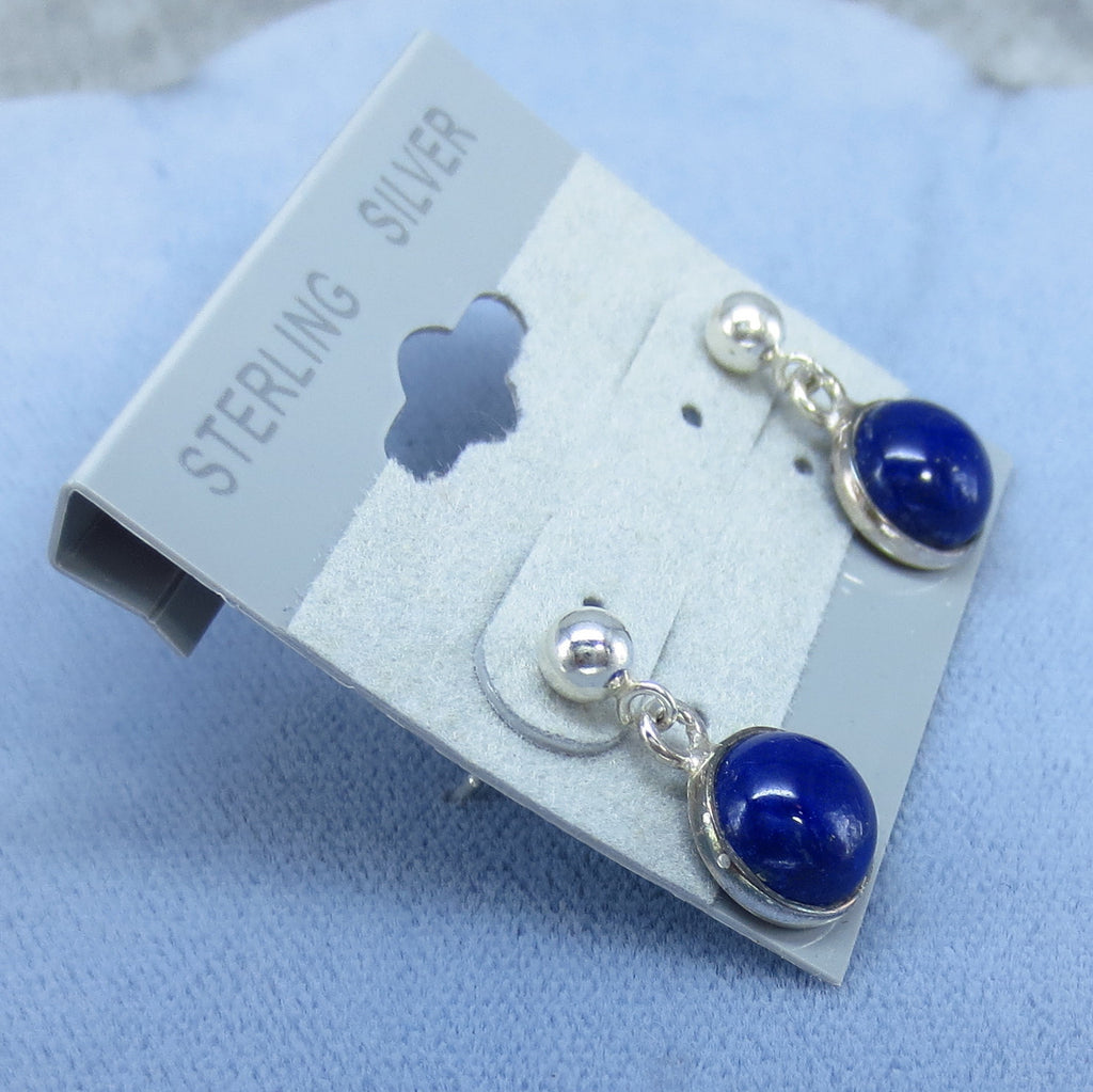8mm Cushion Cut Mohave Lapis Gemstone Post Earrings with Sterling Silver