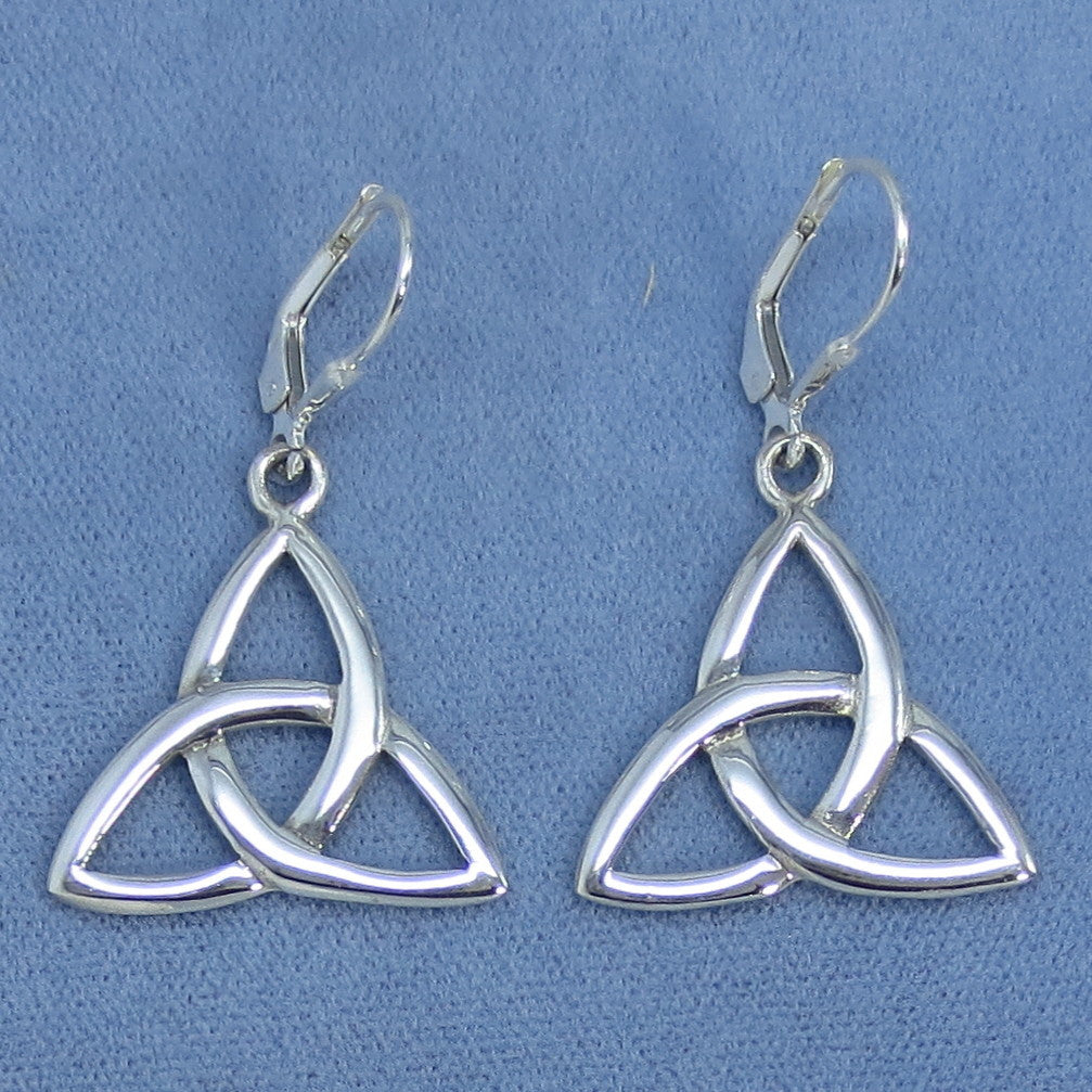 Large Celtic Trinity Knot Leverback Earrings - Sterling Silver - M171