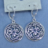 Large Celtic Triskellion Leverback Earrings - Sterling Silver -- 201270