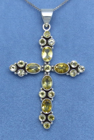 Large Genuine Citrine Cross Necklace - Sterling Silver - Victorian Design - Statement Gemstone Cross -- C142095