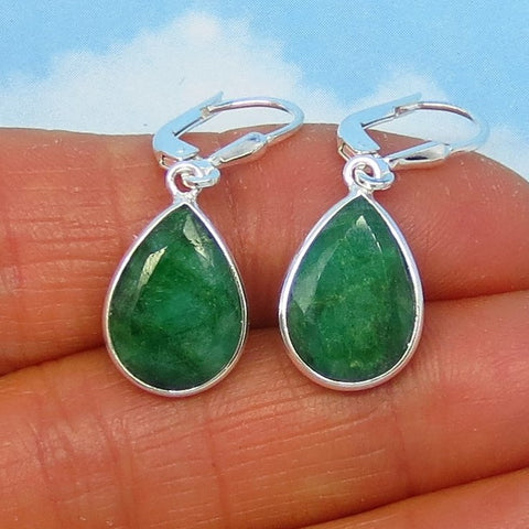 6.38ctw Natural Emerald Earrings Sterling Silver Leverback Dangles - 14 x 10mm Pear Shape - Raw Genuine Emerald - Large - Simple - 181736