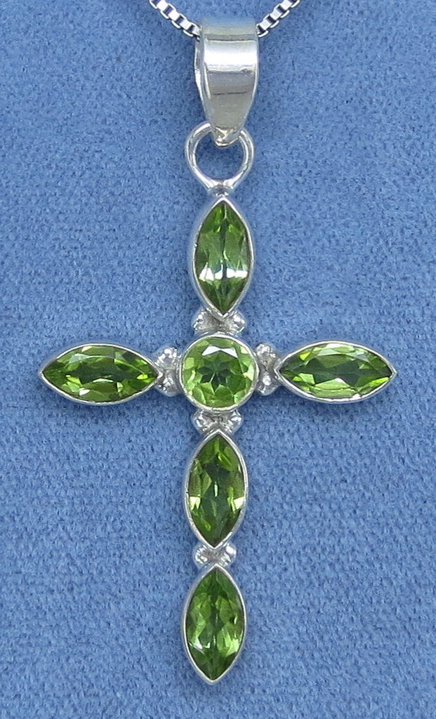 Large Genuine Peridot Cross Necklace - Sterling Silver - Choice of Length - Handmade - P161709
