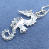 Large Seahorse Necklace - Sterling Silver - Italy - Choice of Chain Length - Hand Made -- P200937