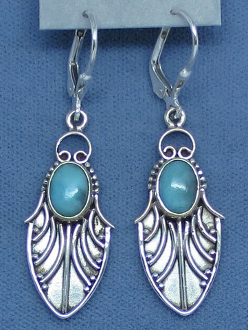 Genuine Larimar Earrings - Leverback - Sterling Silver - Leaf - Island - Dragonfly Wing - Long Dangles - Handmade - 141707