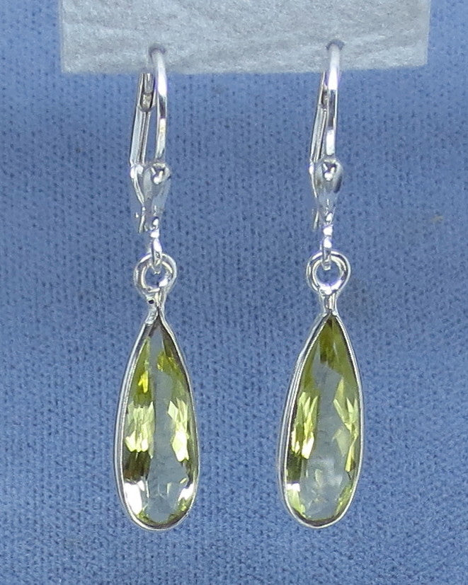 Genuine Lemon Citrine Earrings - Leverback - Sterling Silver - Long Pear Shaped Dainty Dangles -- 171199