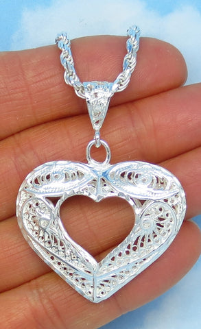 "Large Sterling Silver Heart Pendant Necklace - Filigree Puff Heart - Open Heart - 24"" 3mm Rope Chain - 24.4g - nk444670-183608"