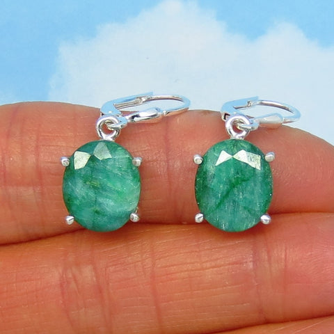 10.0ctw Natural Emerald Earrings - Sterling Silver - Leverback Dangles - 12 x 10mm Oval - Raw Genuine India Emerald - Large - 151436