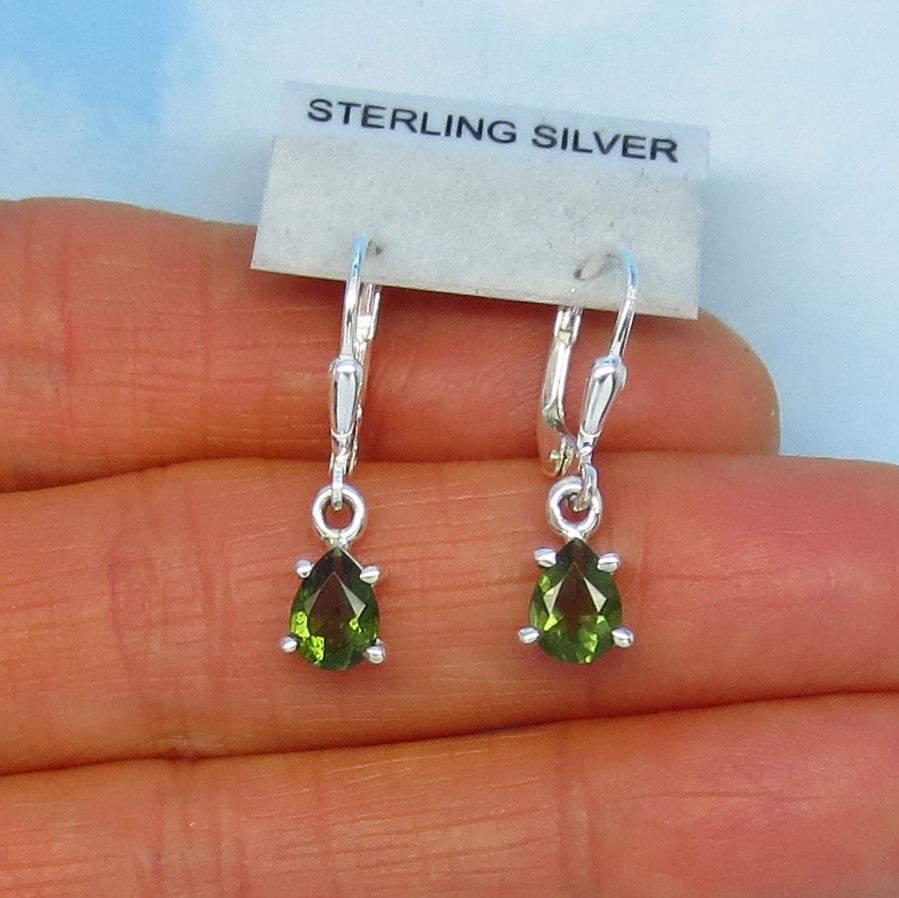 Faceted Czech Moldavite Earrings - Sterling Silver - Leverback Dangle - 7 x 5mm - Natural - Genuine - Tektite - Meteorite Earrings - 182201