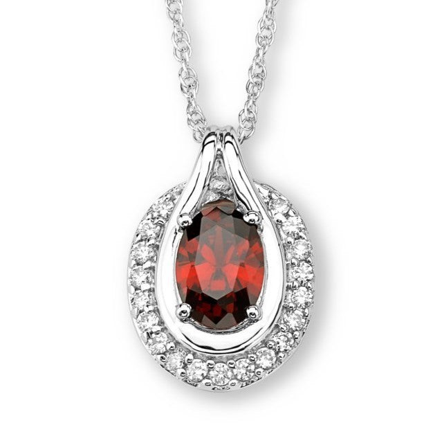 Silver Elegance Oval CZ's Pendant Necklace - Sterling Silver - Handmade - SESP1141