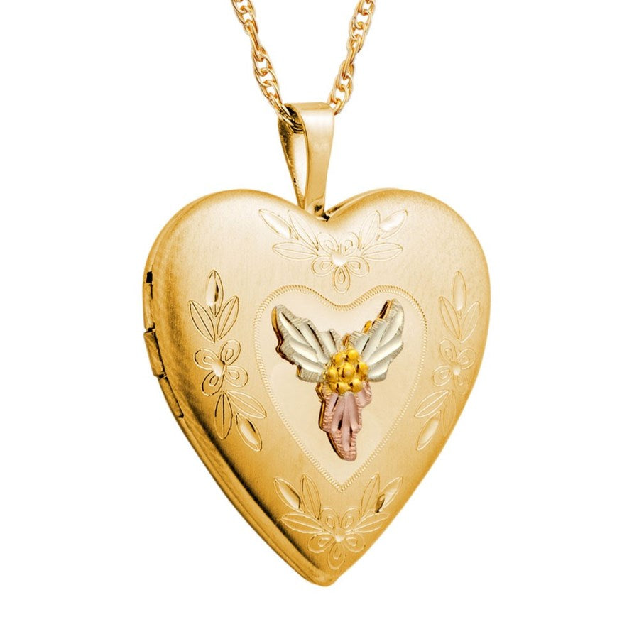 Mt. Rushmore Black Hills Gold Small Heart Locket Necklace -  10K Yellow and 12K Rose and Green Gold - Handmade - G 20323