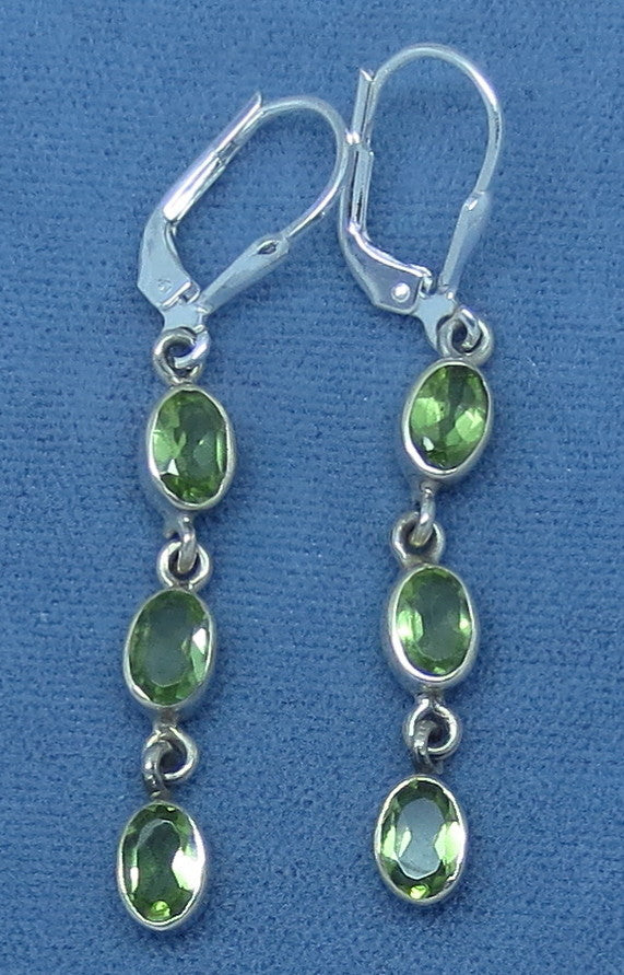 Genuine Peridot Earrings - Sterling Silver - Leverback - Long Dangles - 171309