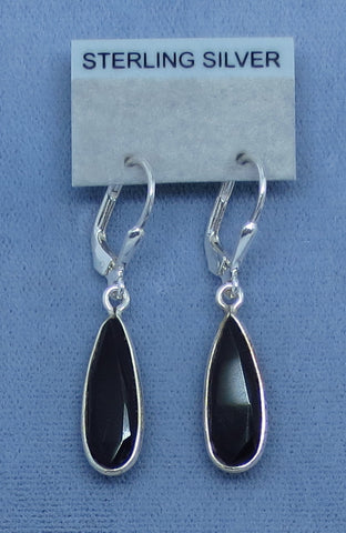 Faceted Black Onyx Earrings - Leverback - Long Pear Shape - Dainty Simple - Sterling Silver - 170958