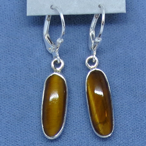 Tiger Eye Earrings - Sterling Silver - Leverback - Oval Long Dangles - 171108
